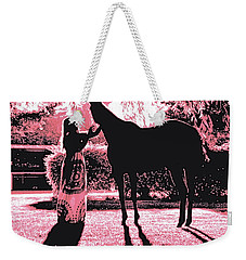 Dylly And Lizzy Pink Weekender Tote Bag by Valerie Rosen