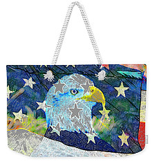 Weekender Tote Bag featuring the digital art Eagle Americana by David Lee Thompson