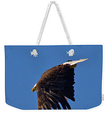 Weekender Tote Bag featuring the photograph Eagle Dive by Linda Unger