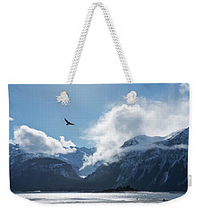 Eagle Flying Over The Chilkat Inlet Weekender Tote Bag