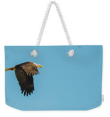 Weekender Tote Bag featuring the photograph Eagle In Flight Panoramic by Jeff at JSJ Photography