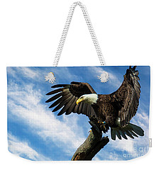 Eagle Landing On A Branch Weekender Tote Bag