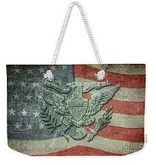 Weekender Tote Bag featuring the digital art Eagle On American Flag by Randy Steele
