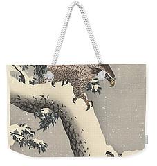 Eagle On Snowy Pine Weekender Tote Bag