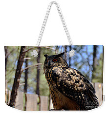 Weekender Tote Bag featuring the photograph Eagle Owl by Debby Pueschel