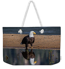 Eagle Reflection  Weekender Tote Bag by Mitch Shindelbower