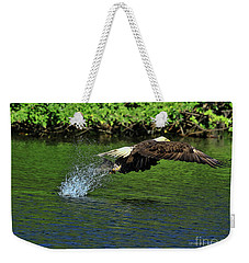 Weekender Tote Bag featuring the photograph Eagle Series Fish Catch by Deborah Benoit