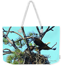 Weekender Tote Bag featuring the photograph Eagle Series The Nest by Deborah Benoit
