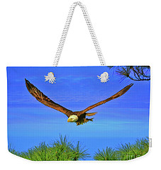 Weekender Tote Bag featuring the photograph Eagle Series Through The Trees by Deborah Benoit