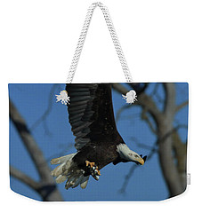 Weekender Tote Bag featuring the photograph Eagle With Fish by Coby Cooper