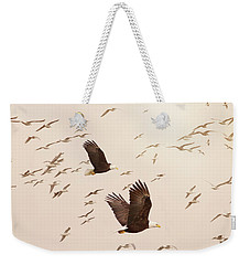 Eagles And Flock Of Seagulls Weekender Tote Bag by Peggy Collins
