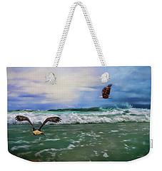 Eagles At Sea Wildlife Art Weekender Tote Bag by Jai Johnson