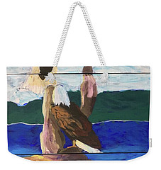 Weekender Tote Bag featuring the painting Eagles by Donald J Ryker III