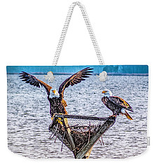 Weekender Tote Bag featuring the photograph Eagles In Blackwater Refuge by Nick Zelinsky