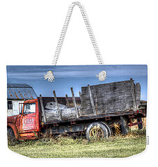 Weekender Tote Bag featuring the photograph Earl Latsha Lumber Company - Version 1 by Shelley Neff