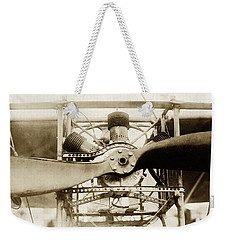Weekender Tote Bag featuring the photograph Early Airplane Propeller Engine by Suzanne Powers