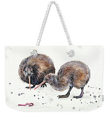 Weekender Tote Bag featuring the painting Early Birds by Zaira Dzhaubaeva
