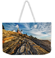 Weekender Tote Bag featuring the photograph Early Morning At Pemaquid Point by Darren White