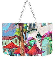 Weekender Tote Bag featuring the painting Early Morning Coffee In Old Town La Quinta 2 by Diane McClary