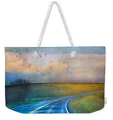 Early Morning Kansas Two-lane Highway Weekender Tote Bag