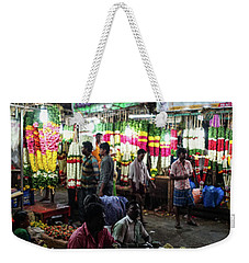 Weekender Tote Bag featuring the photograph Early Morning Koyambedu Flower Market India by Mike Reid