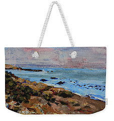 Weekender Tote Bag featuring the painting Early Morning Low Tide by Walter Fahmy