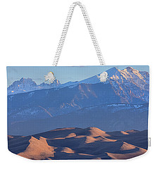 Early Morning Sand Dunes And Snow Covered Peaks Weekender Tote Bag by James BO Insogna