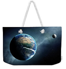 Earth And Moon Space View Weekender Tote Bag