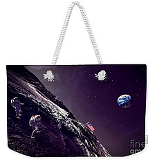 Weekender Tote Bag featuring the digital art Earth Rise On The Moon by Methune Hively