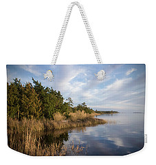 Weekender Tote Bag featuring the photograph East Bank Looking South At Sunset by Phil Mancuso