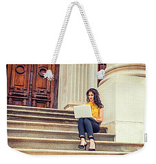 East Indian American College Student Studying In New York Weekender Tote Bag