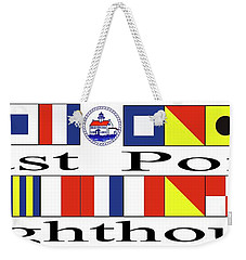 East Point Lighthouse Nautical Flags Weekender Tote Bag by Nancy Patterson