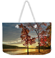 East Texas Autumn Sunrise At The Lake Weekender Tote Bag