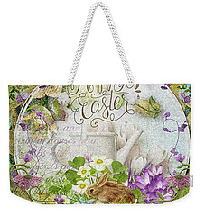 Weekender Tote Bag featuring the mixed media Easter Breakfast by Mo T
