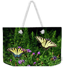 Weekender Tote Bag featuring the photograph Eastern Tiger Swallowtail Butterfly - Female And Male  by Kerri Farley