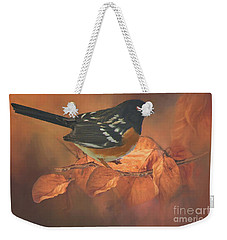 Spotted Towhee In Autumn Weekender Tote Bag by Janette Boyd