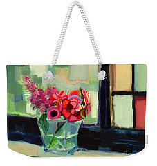 Weekender Tote Bag featuring the painting Easy Day By The Window by Carrie Joy Byrnes