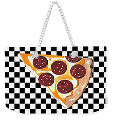 Weekender Tote Bag featuring the mixed media Eat Pizza by Kathleen Sartoris