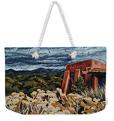 Weekender Tote Bag featuring the painting Echoes Of Tularosa, Museum Hill, Santa Fe, Nm by Erin Fickert-Rowland