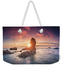 Weekender Tote Bag featuring the photograph Ecola State Park Beach Sunset Pano by William Lee