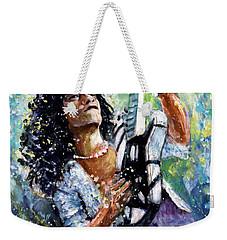 Eddie Van Halen Weekender Tote Bag by Miki De Goodaboom