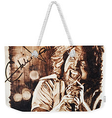 Weekender Tote Bag featuring the pyrography Eddie Vedder by Lance Gebhardt