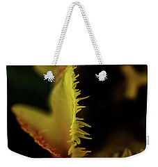 Weekender Tote Bag featuring the photograph Edge Of The Tulip by Jay Stockhaus