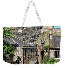 Weekender Tote Bag featuring the photograph Edinburgh Castle From The Vennel by Jeremy Lavender Photography