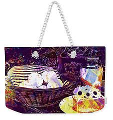Weekender Tote Bag featuring the digital art Egg Milk Butter Out Garden Herbs  by PixBreak Art
