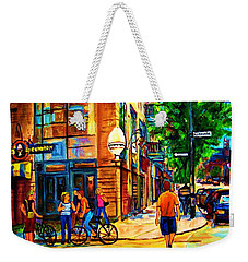 Eggspectation Cafe On Esplanade Weekender Tote Bag by Carole Spandau