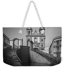 Weekender Tote Bag featuring the photograph Egreja Da Mesericordia And The Gateway To Angra Do Heroismo In Black And White by Kelly Hazel