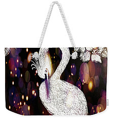 Weekender Tote Bag featuring the drawing Egret 16-01d by Maria Urso