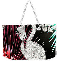 Weekender Tote Bag featuring the drawing Egret 16-02d by Maria Urso