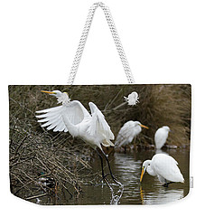Weekender Tote Bag featuring the photograph Egret Exit by George Randy Bass